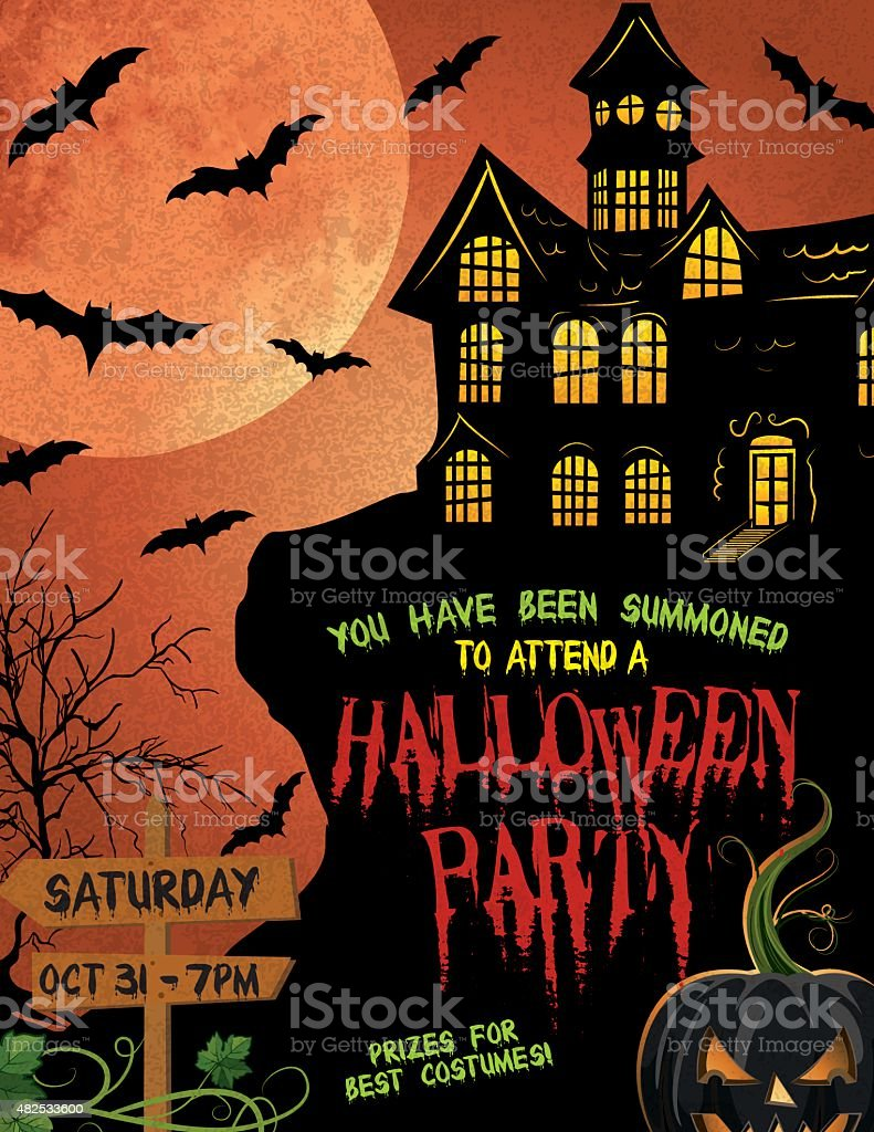 Halloween Party Invitation Template vector art illustration