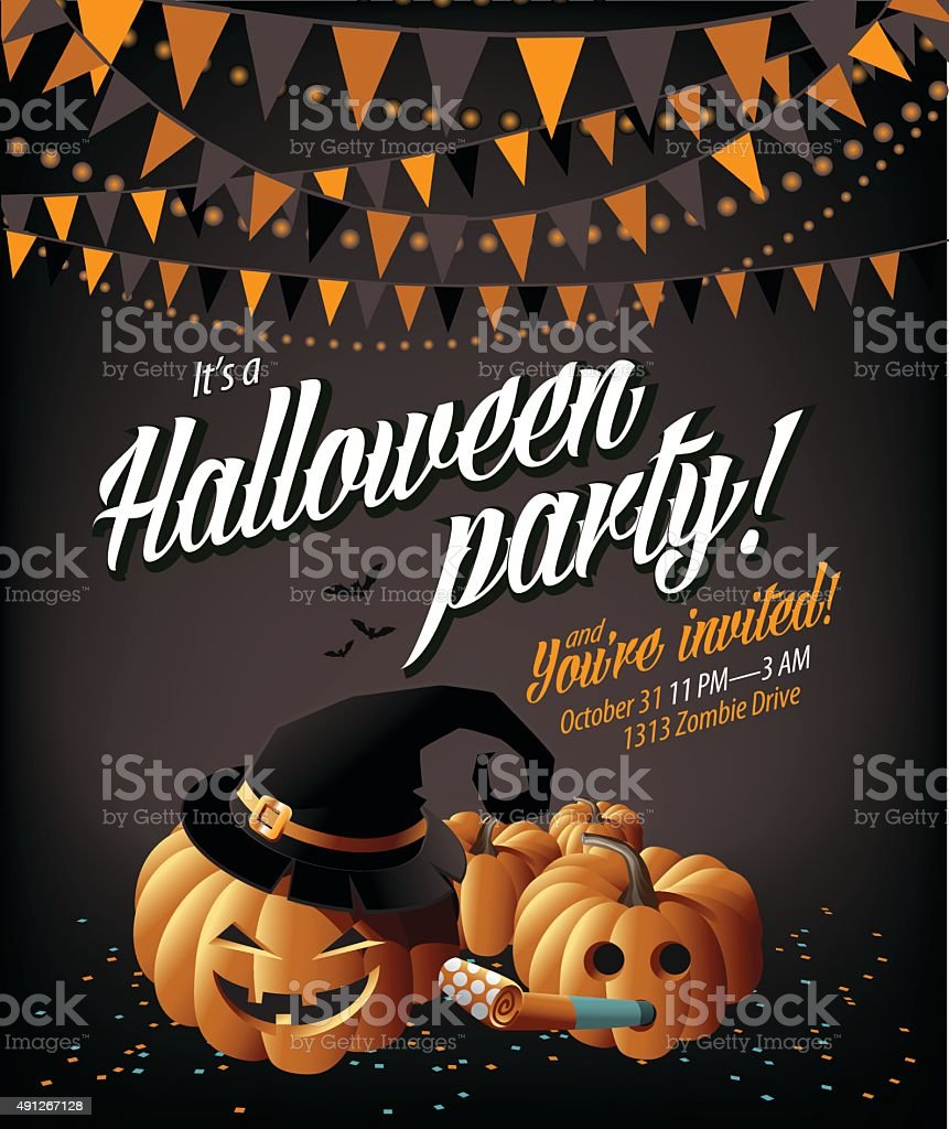 Halloween party invite pumpkins under a green moon vector art illustration
