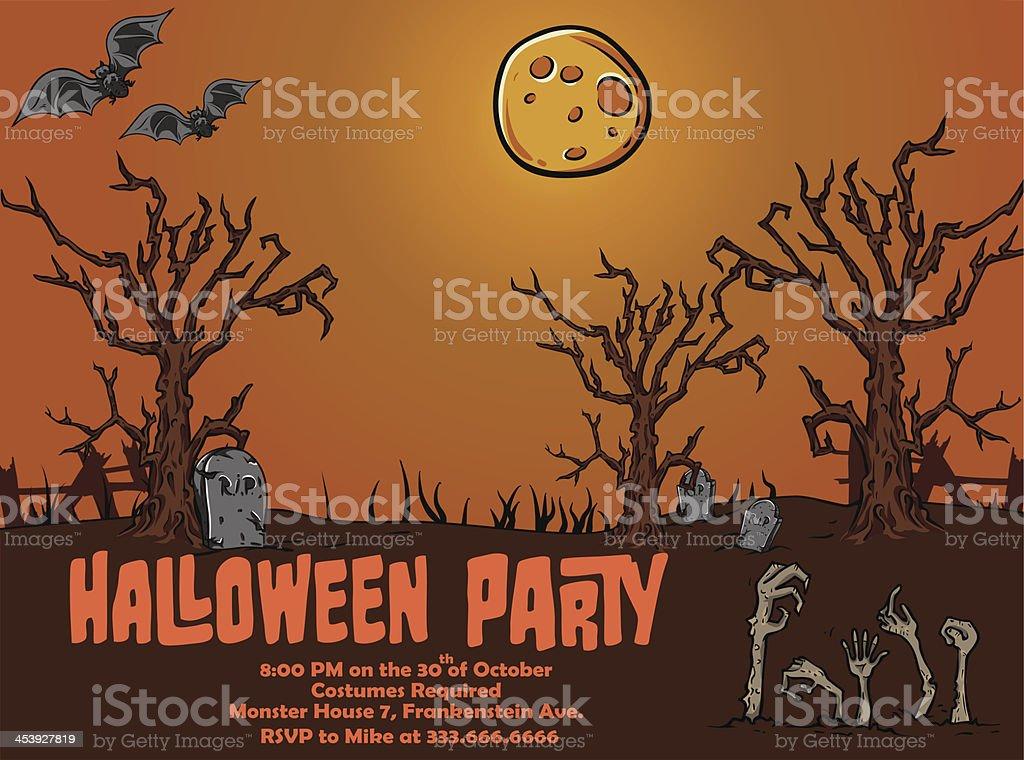 Halloween Party Poster Template: Creepy Graveyard royalty-free stock vector art