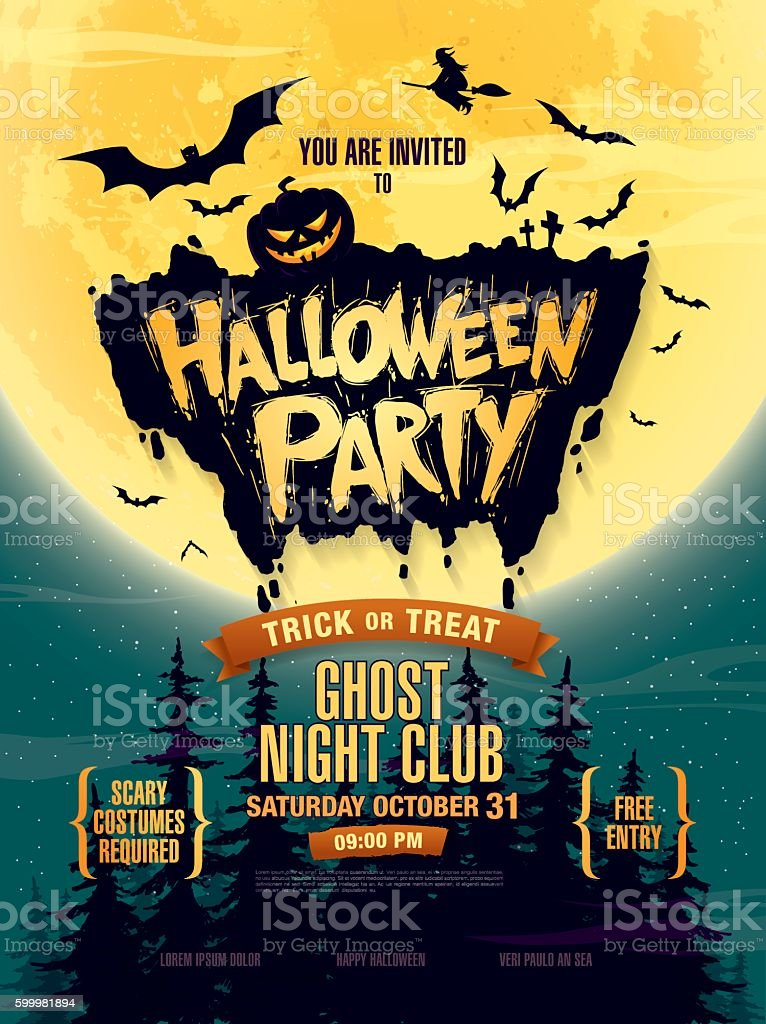 Halloween party. Poster vector art illustration