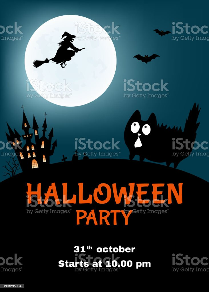 Halloween   party  poster  with  funny cat. vector art illustration