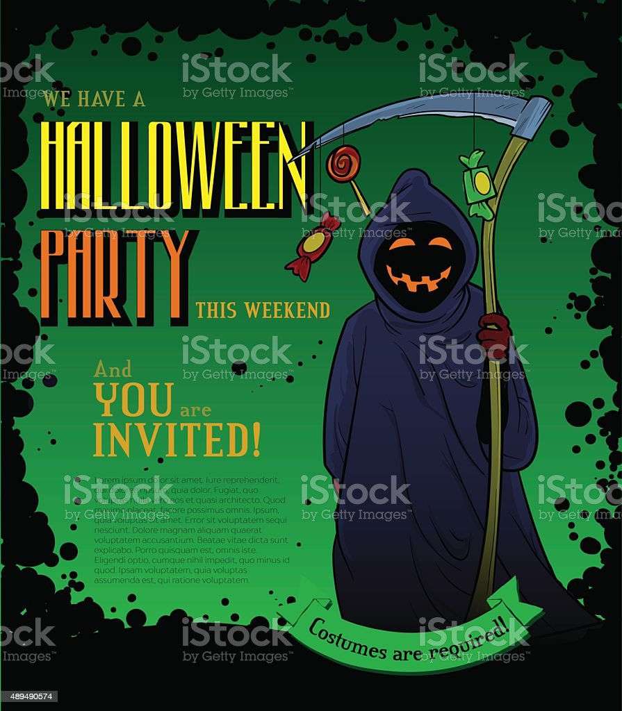 Halloween party poster with smiling death vector art illustration