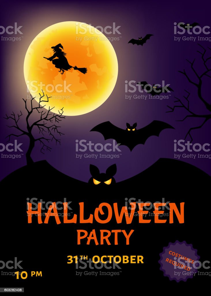 Halloween party poster  with  witch and moon. vector art illustration