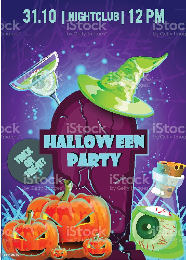 Halloween party poster.banner, flyer,Vector illustration vector art illustration