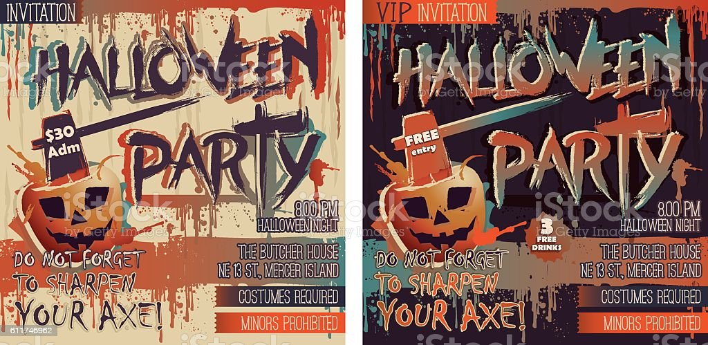Halloween Party Set of two square Invitation cards vector art illustration