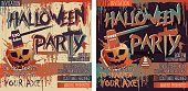 Halloween Party Set of two square Invitation cards