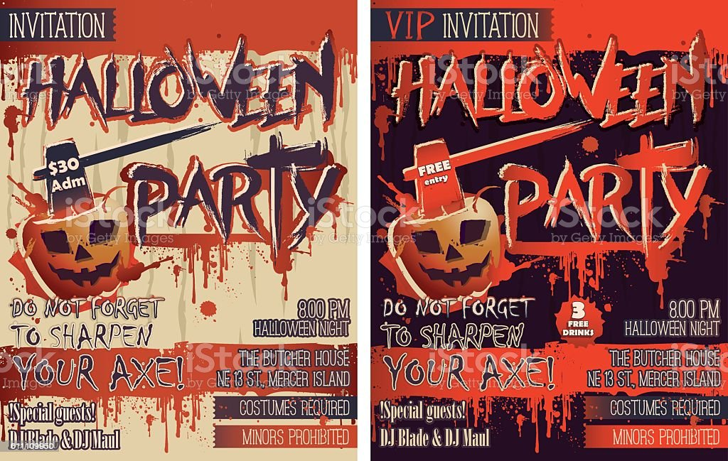 Halloween Party Set of two vertical Letter size Invitation cards vector art illustration