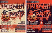 Halloween Party Set of two vertical Letter size Invitation cards