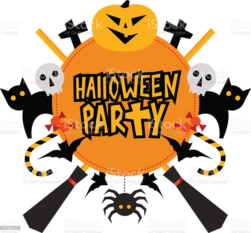 Halloween party sign with pumpkin, bats, cats, witches hat, broo vector art illustration