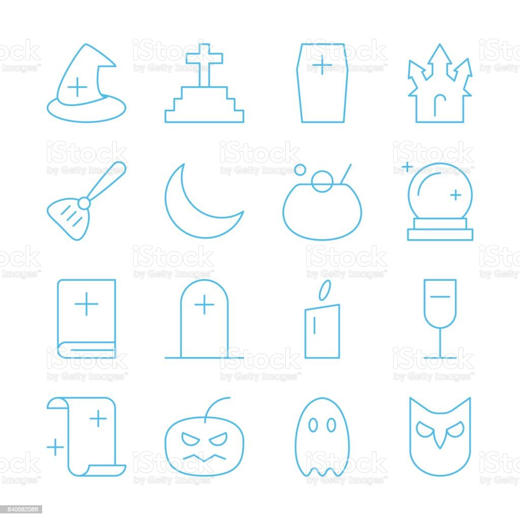 Halloween party thin line editable stroke vector icon vector art illustration