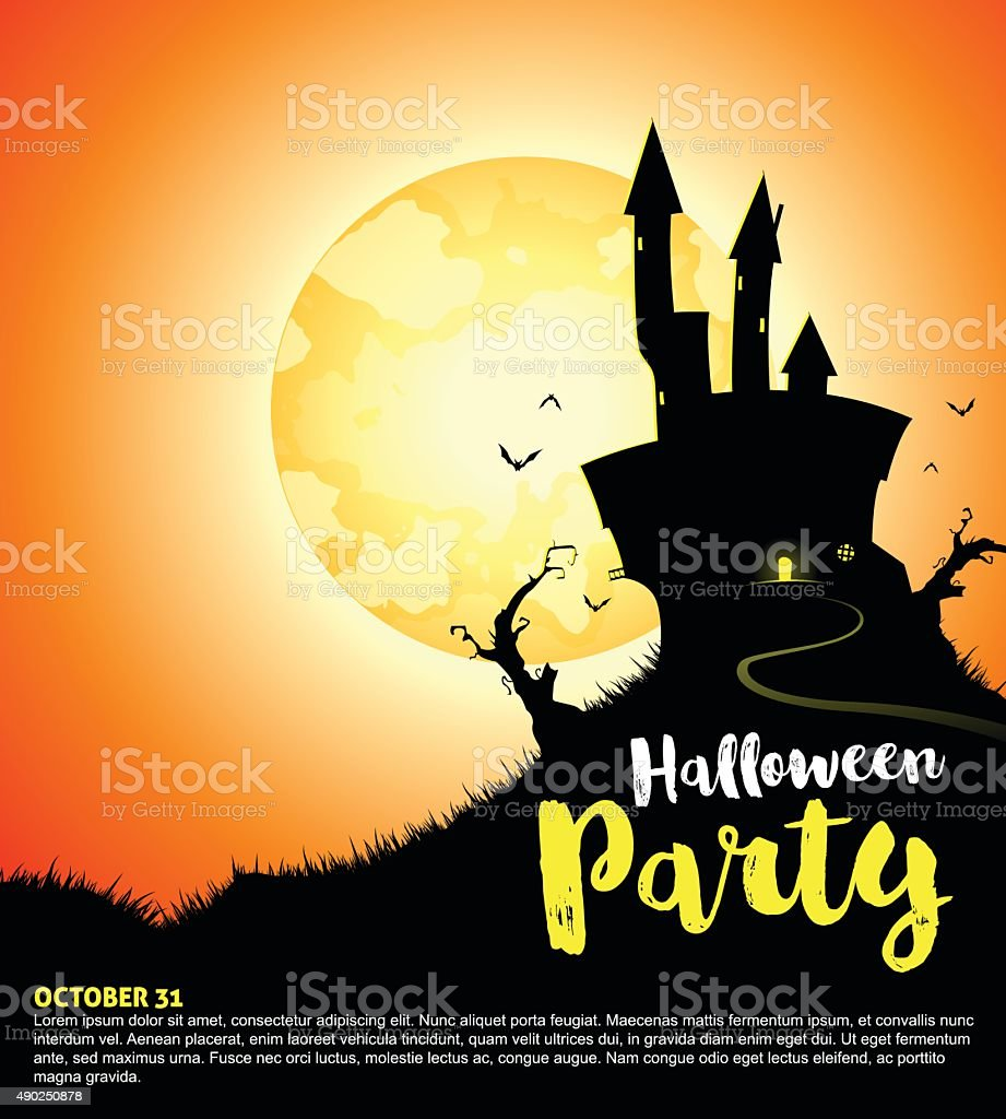 Halloween Party with Haunted House vector art illustration