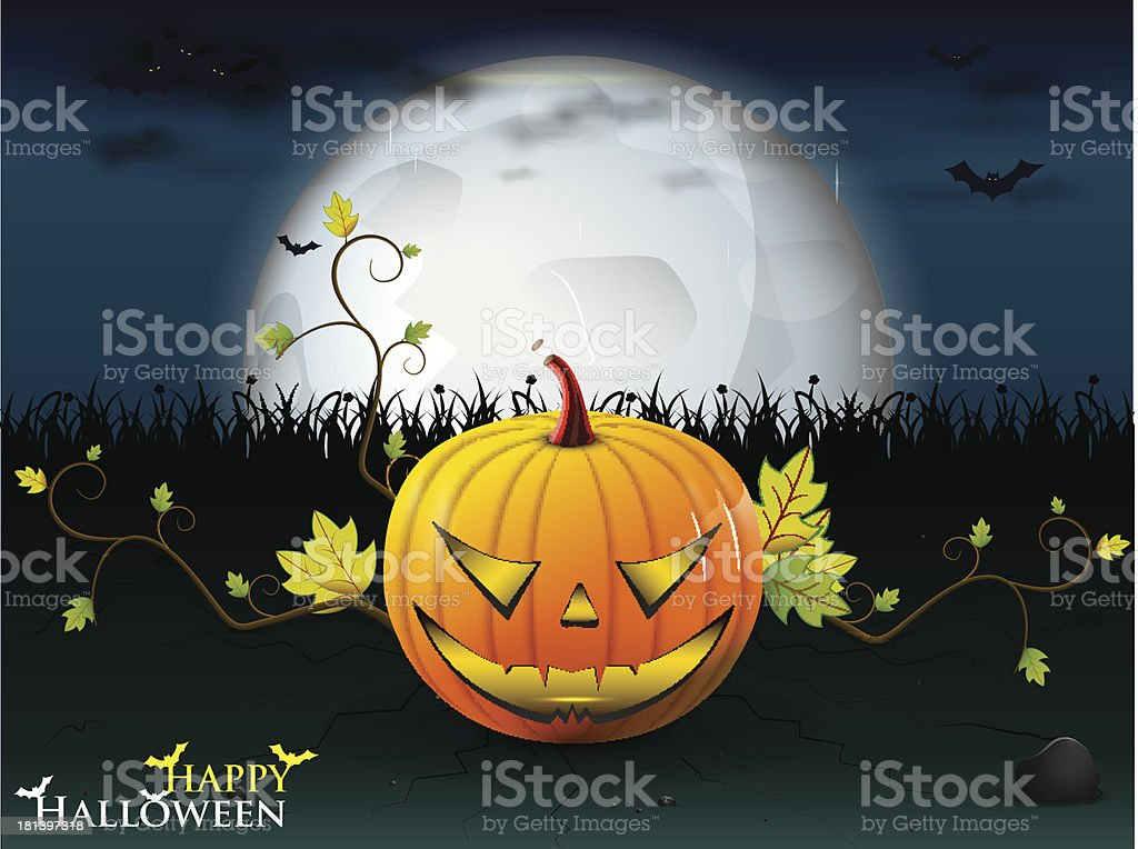 halloween party with orange pumpkin royalty-free stock vector art