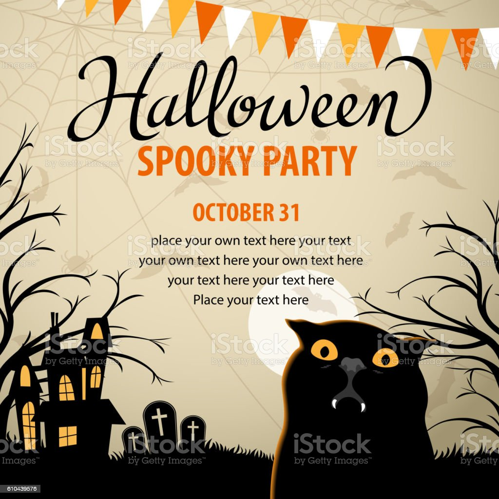 Halloween Party with Vampire Cat vector art illustration
