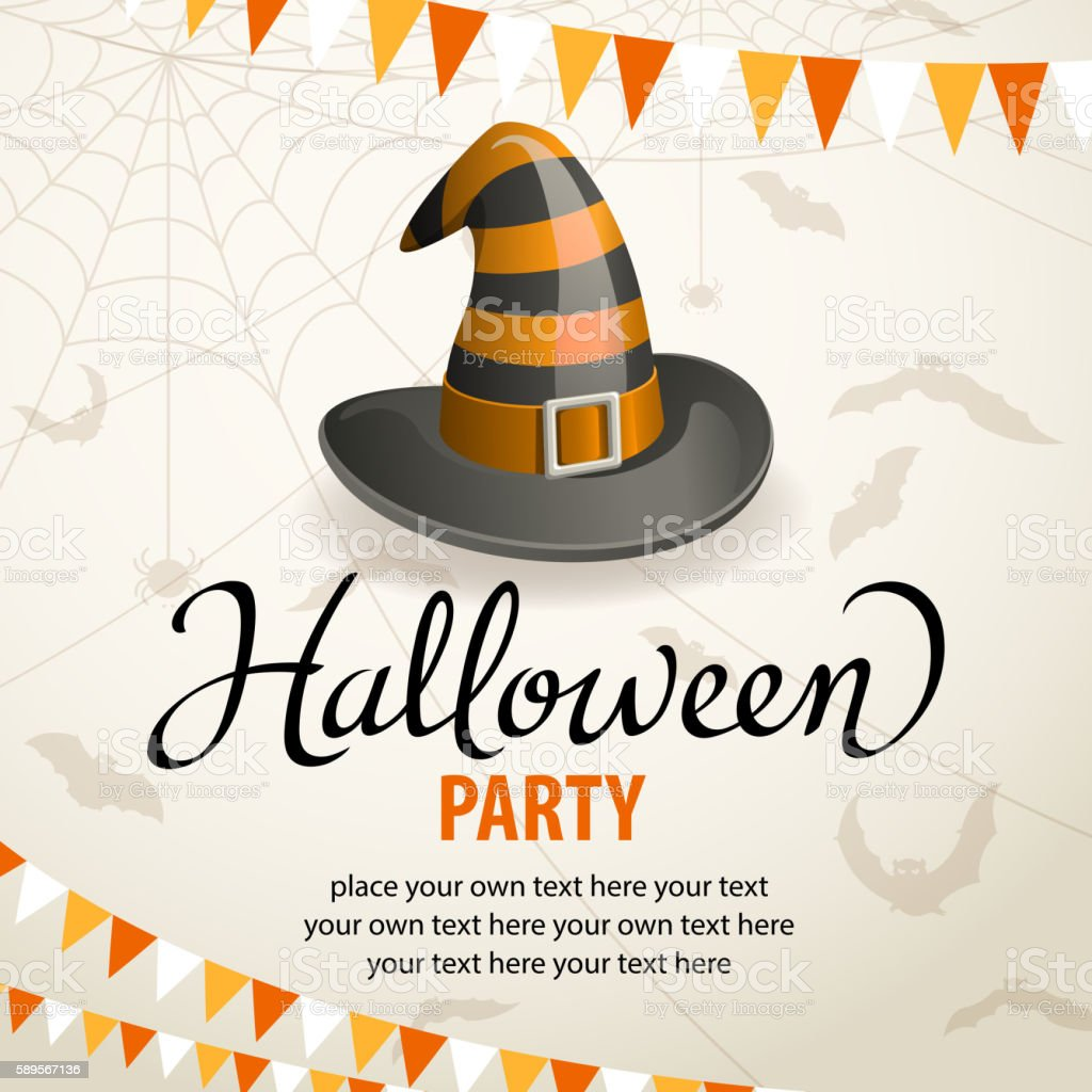 Halloween Party with Witch Hat vector art illustration