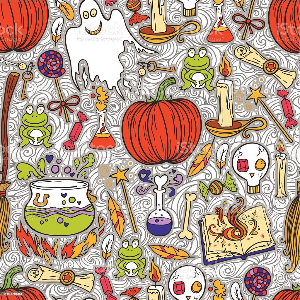 Halloween pattern background vector art illustration