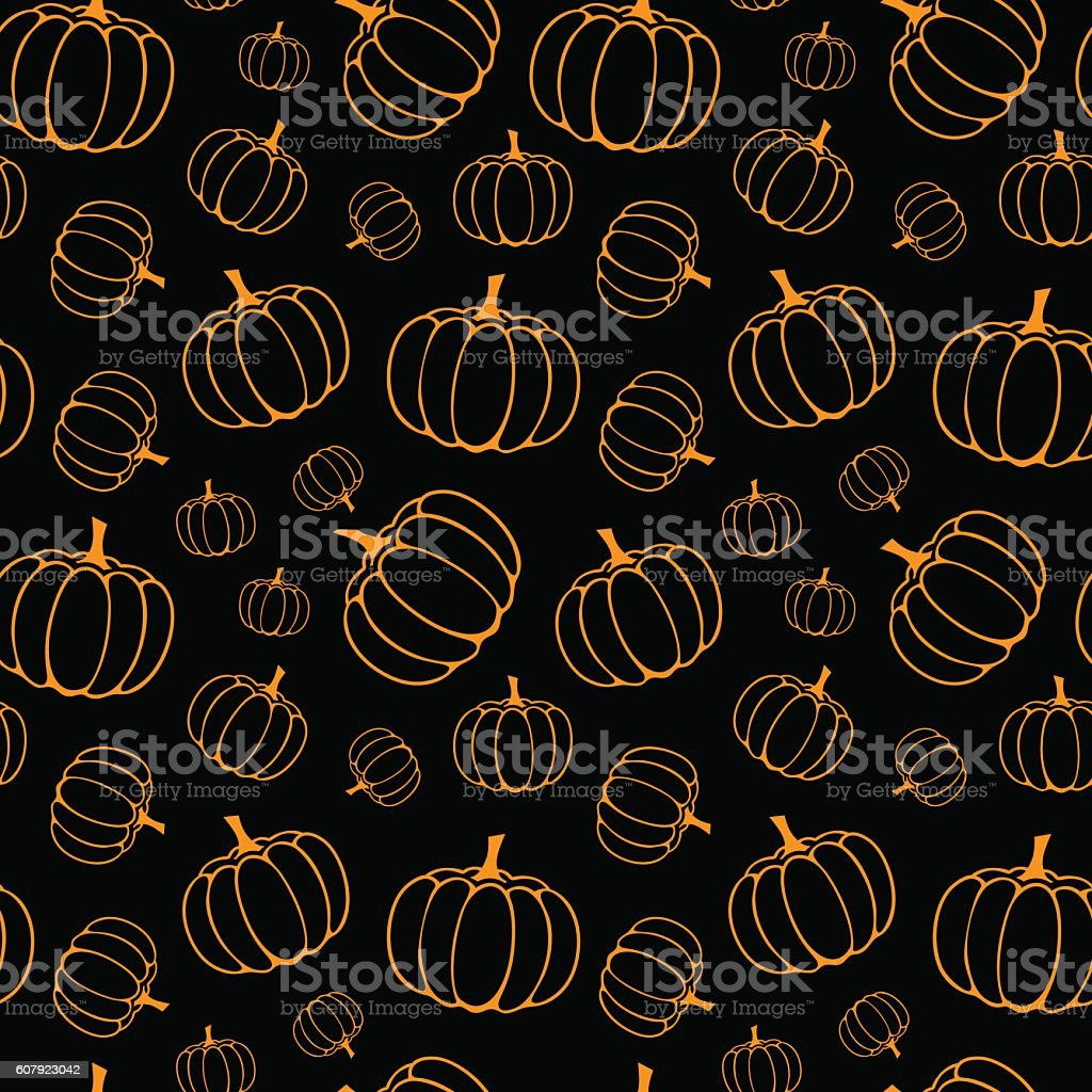 halloween pattern with pumpkins vector art illustration