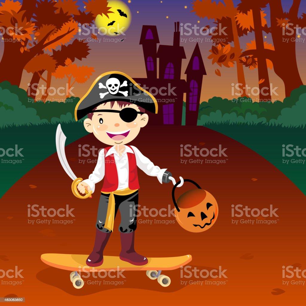 Halloween pirate costume vector art illustration