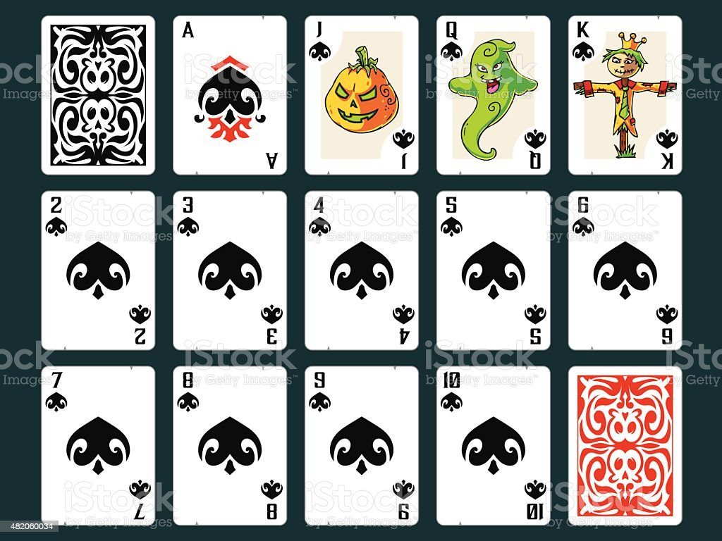 Halloween Playing Cards - Spades Set vector art illustration