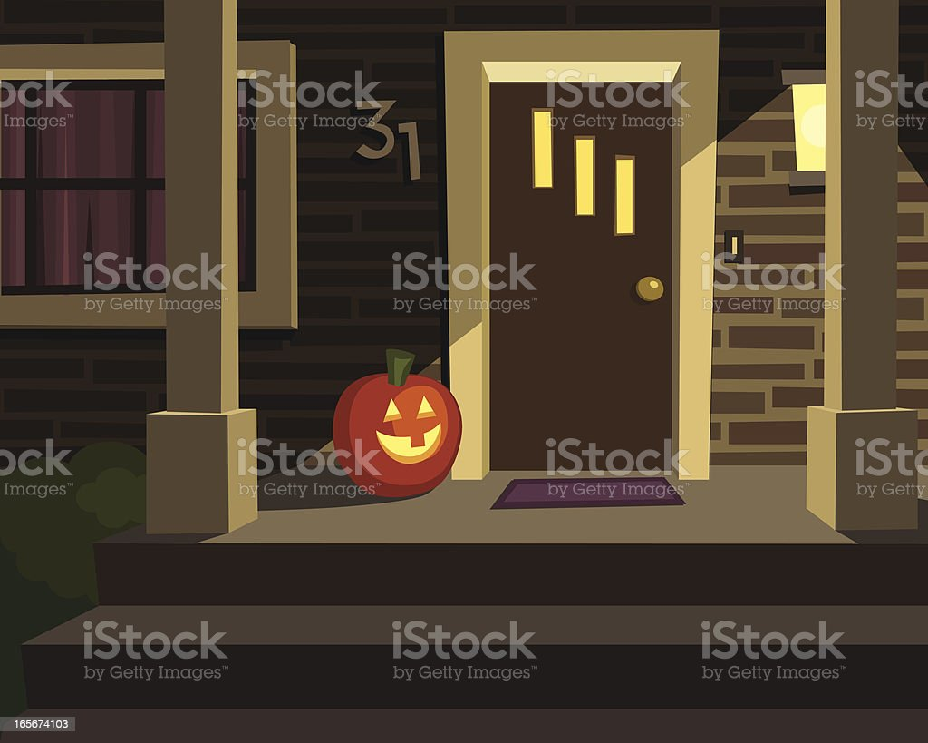 Halloween Porch with Pumpkin vector art illustration