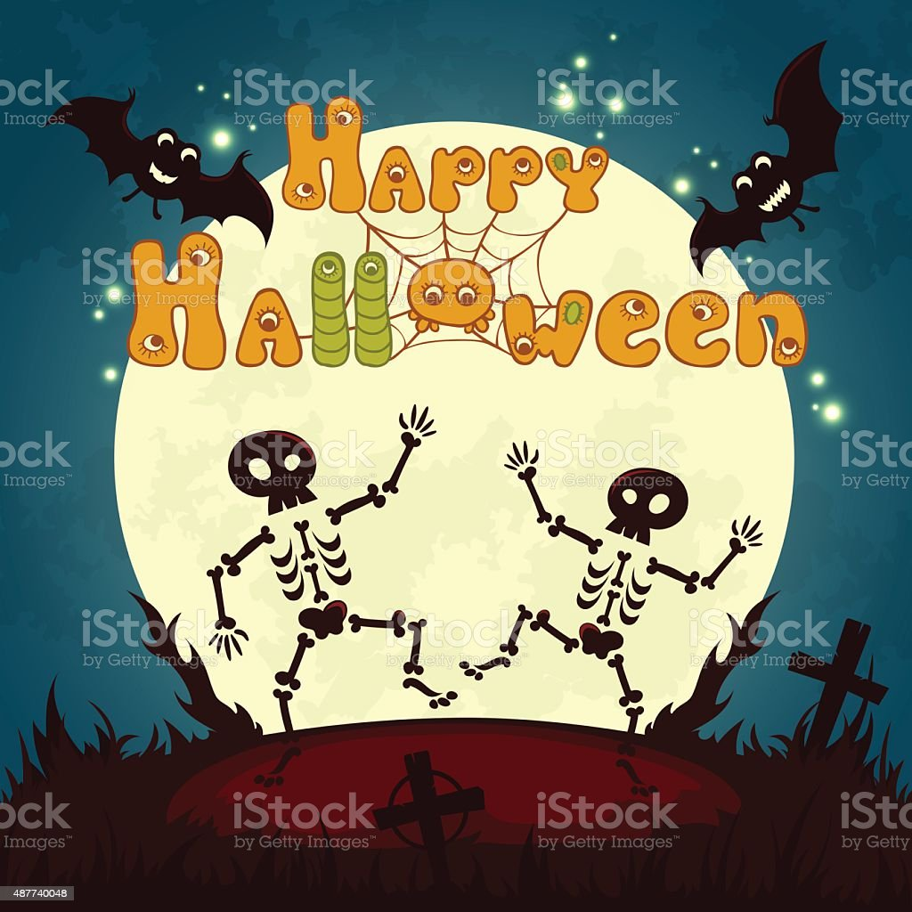 halloween poster design with full moon and cute dancing skeletons royalty free stock vector art - Dancing Halloween
