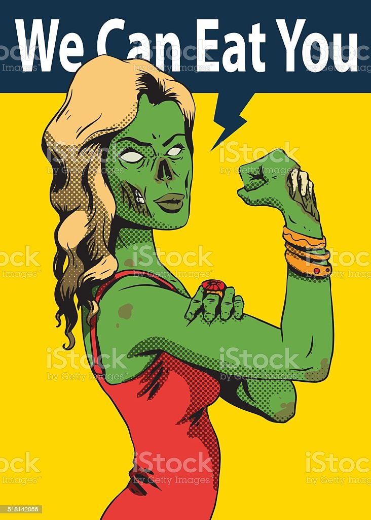 Halloween poster, green zombie young girl vector art illustration