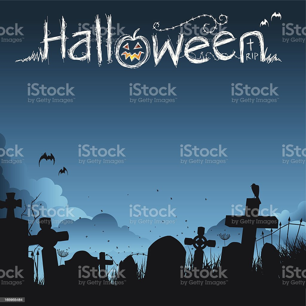 Halloween poster with graveyard vector art illustration
