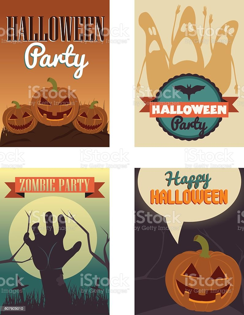 Halloween Posters set. Vector illustration. vector art illustration