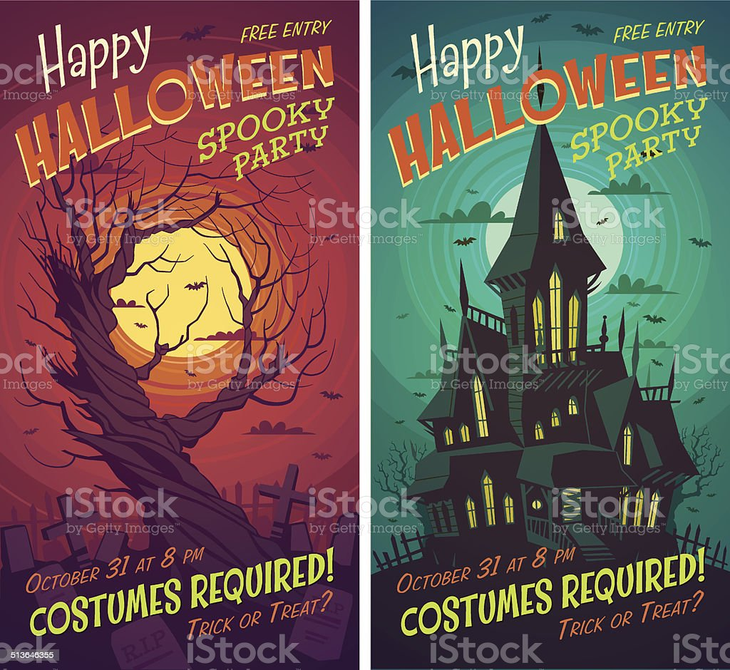 Halloween posters vector art illustration