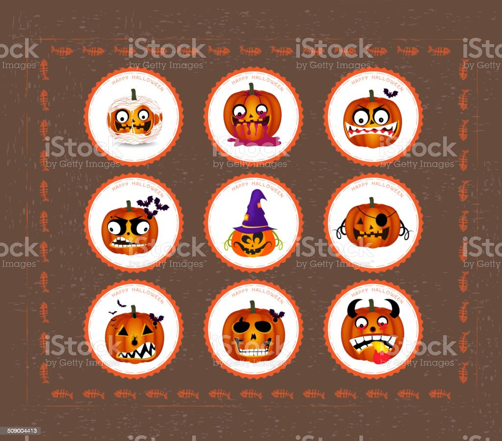 Halloween printables vector art illustration