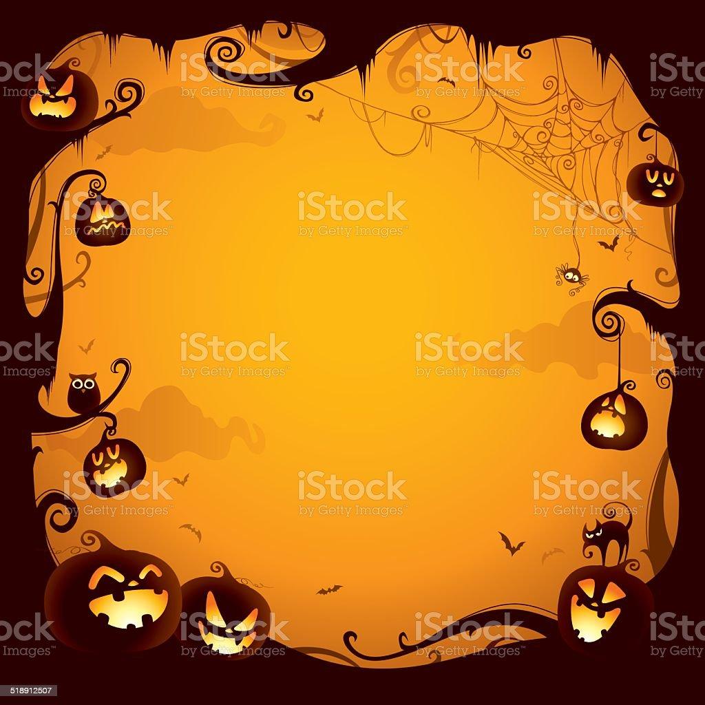 Halloween pumpkin border for design vector art illustration