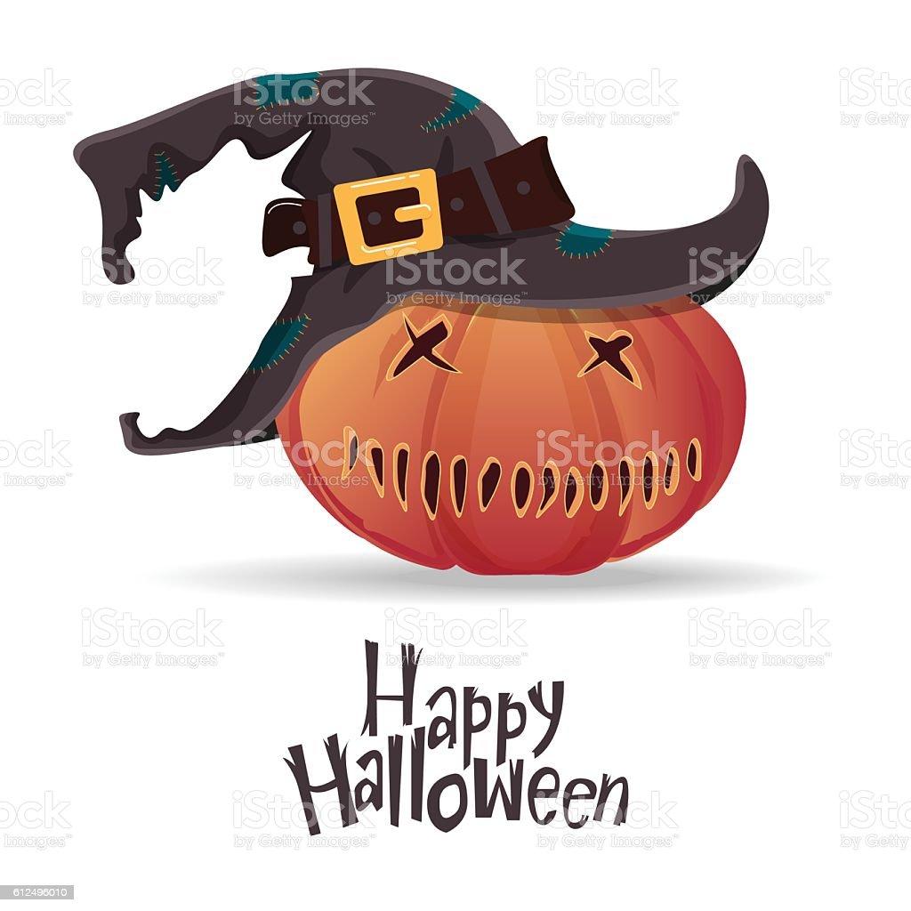 Halloween pumpkin carving in black witch hat. Cartoon vector. vector art illustration