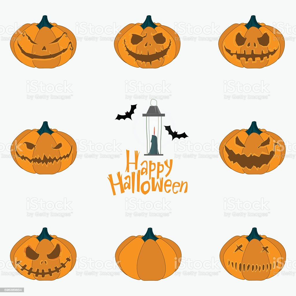 Halloween pumpkin carving set. Happy Halloween typography. Vector vector art illustration