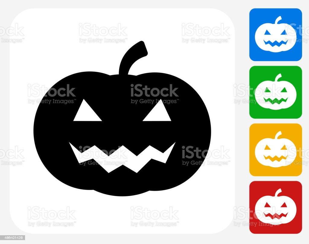 Halloween Pumpkin Face Icon Flat Graphic Design vector art illustration