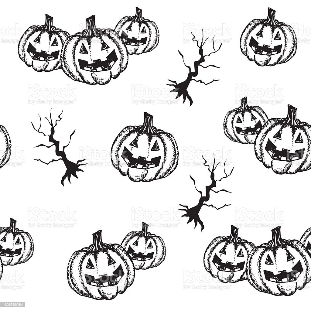 Halloween pumpkin hand draw style vector art illustration