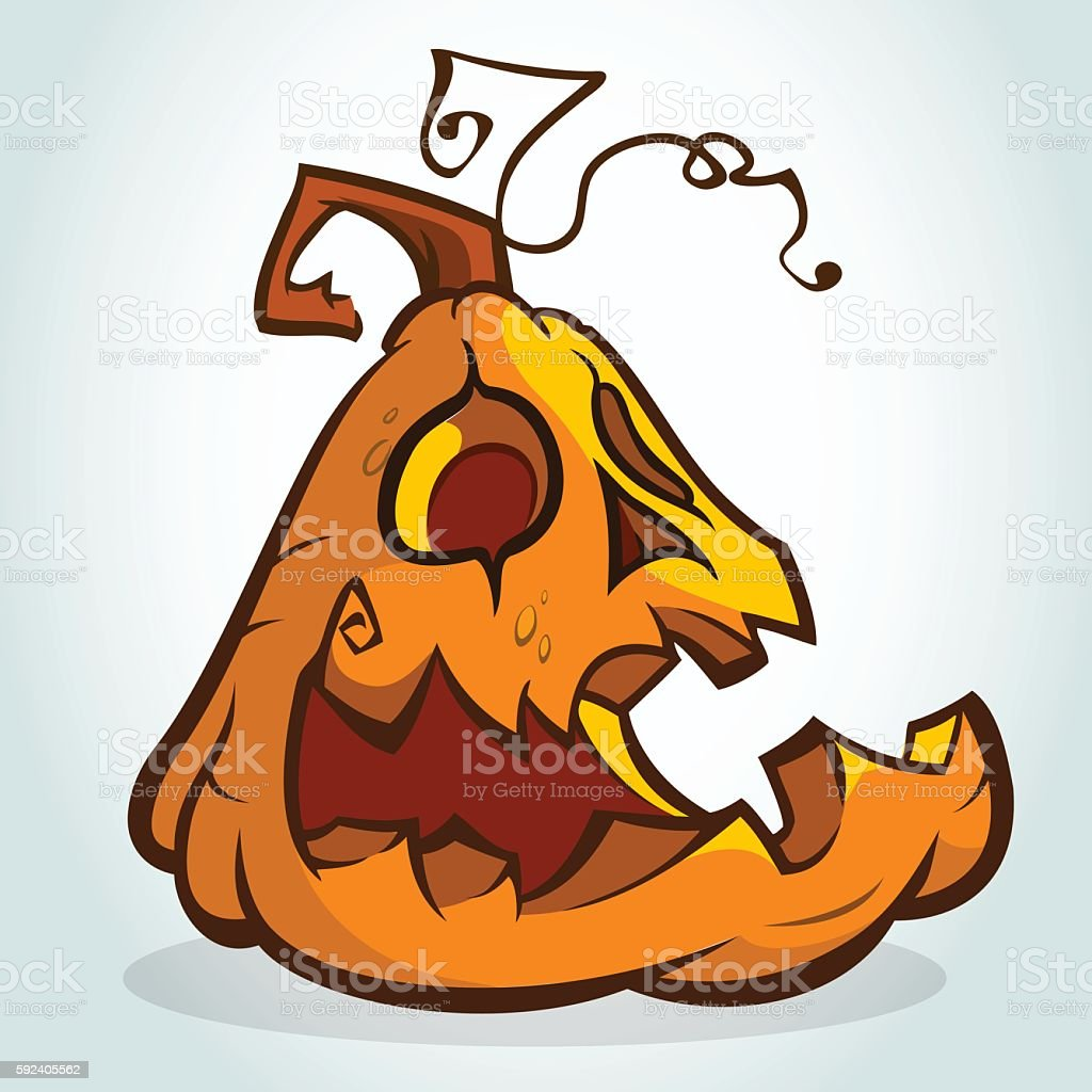 Halloween pumpkin head isolated on white. Vector illustration vector art illustration