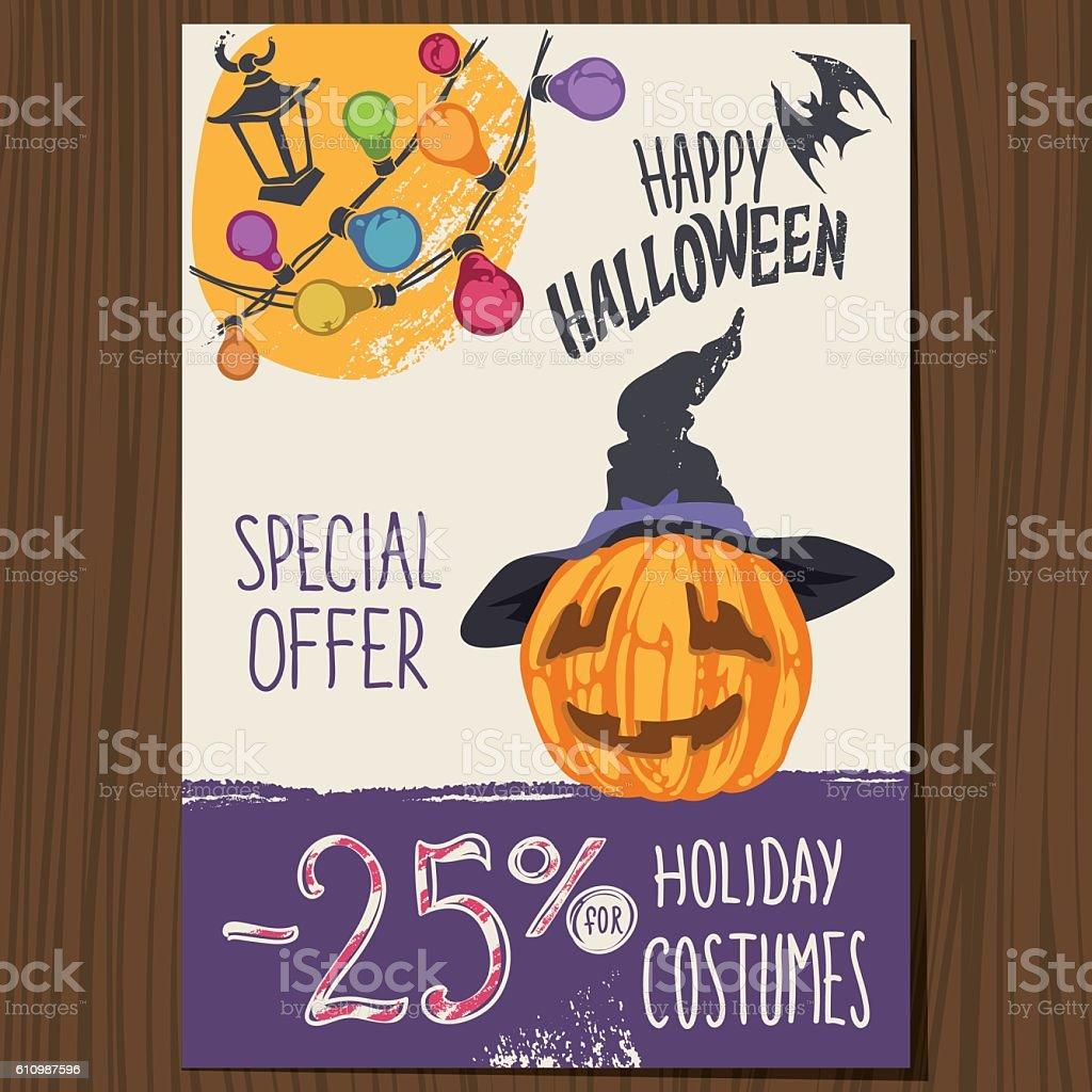 Halloween Pumpkin in Hat Poster vector art illustration