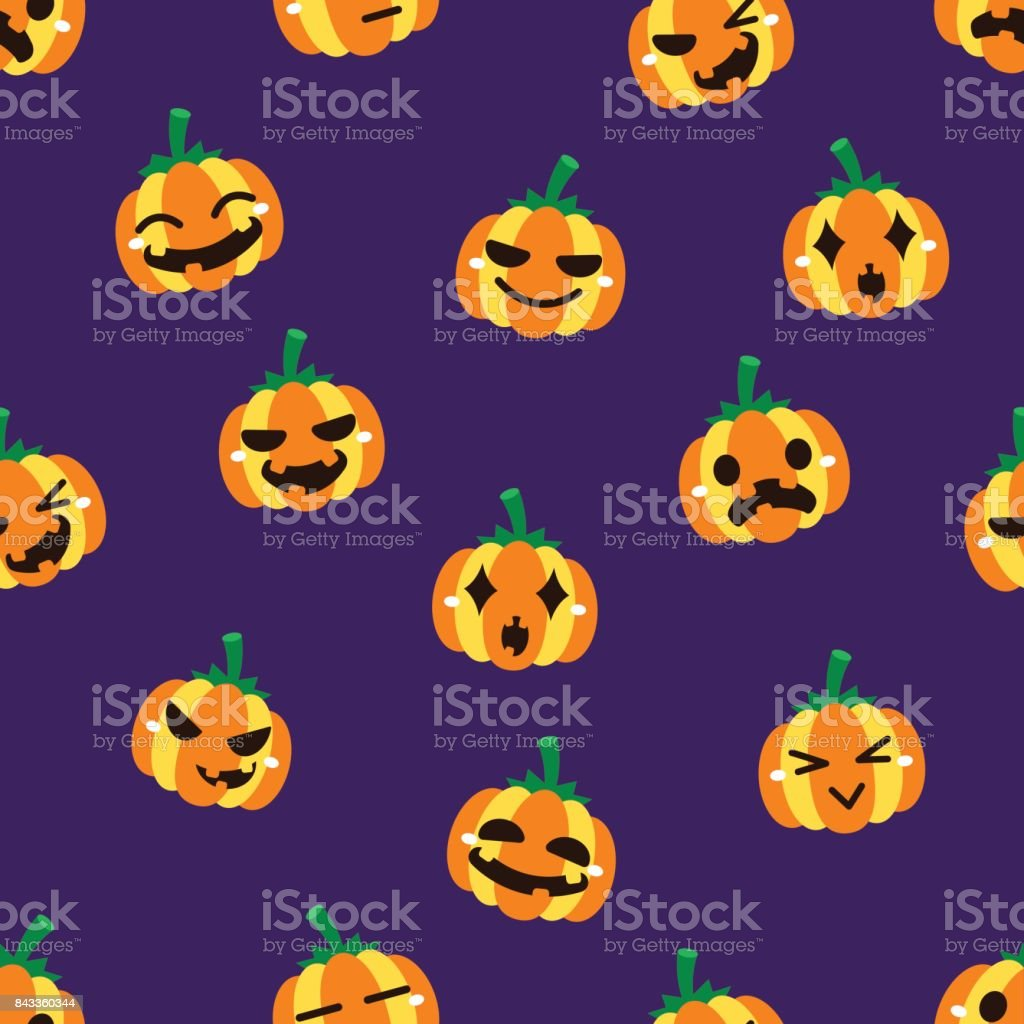 Halloween pumpkin seamless pattern background vector art illustration