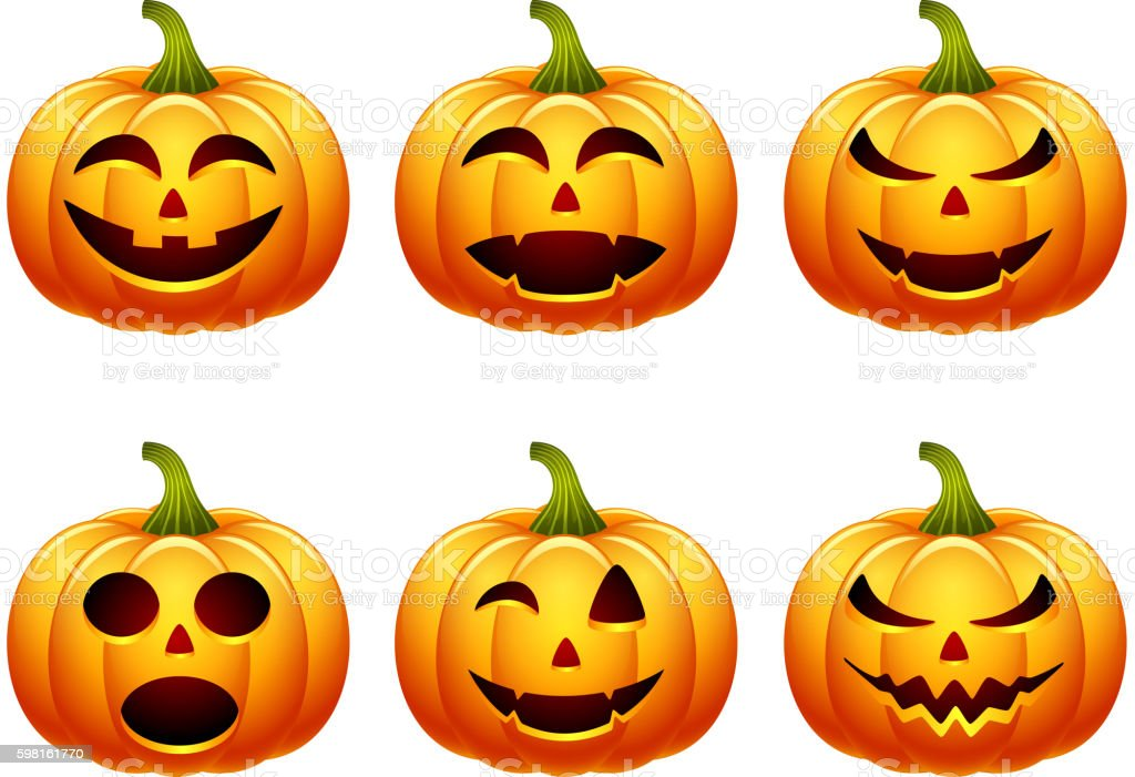 Halloween pumpkin set with different expressions vector art illustration