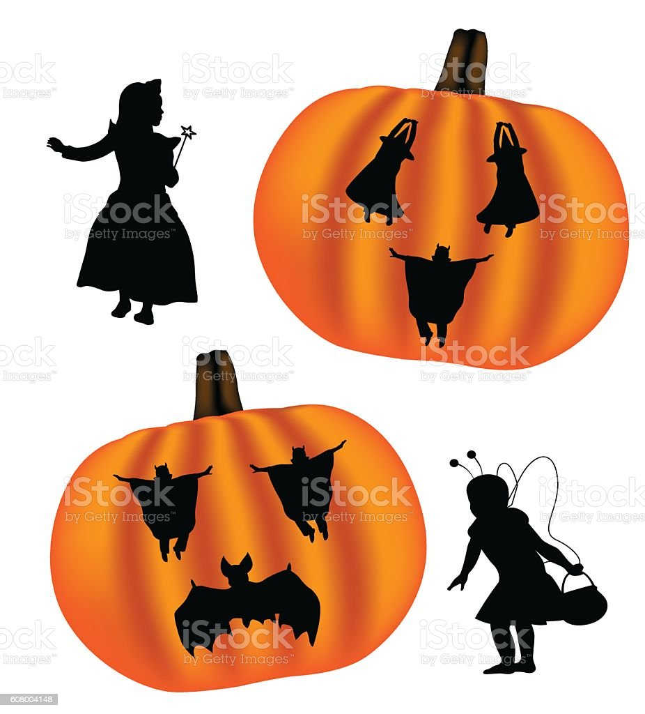 Halloween Pumpkin Silhouette Character vector art illustration