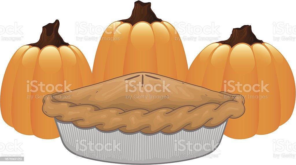 Halloween Pumpkin Thanksgiving Pie Vector Illustration royalty-free stock vector art