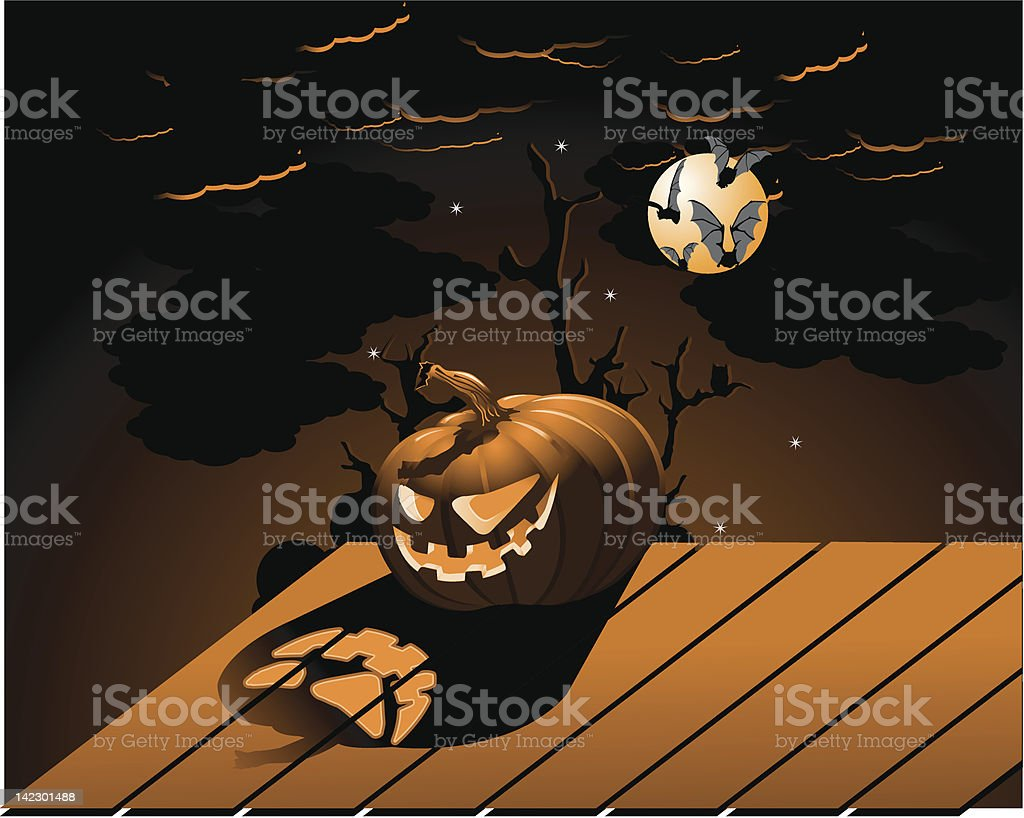 Halloween Pumpkin with burning eyes royalty-free stock vector art