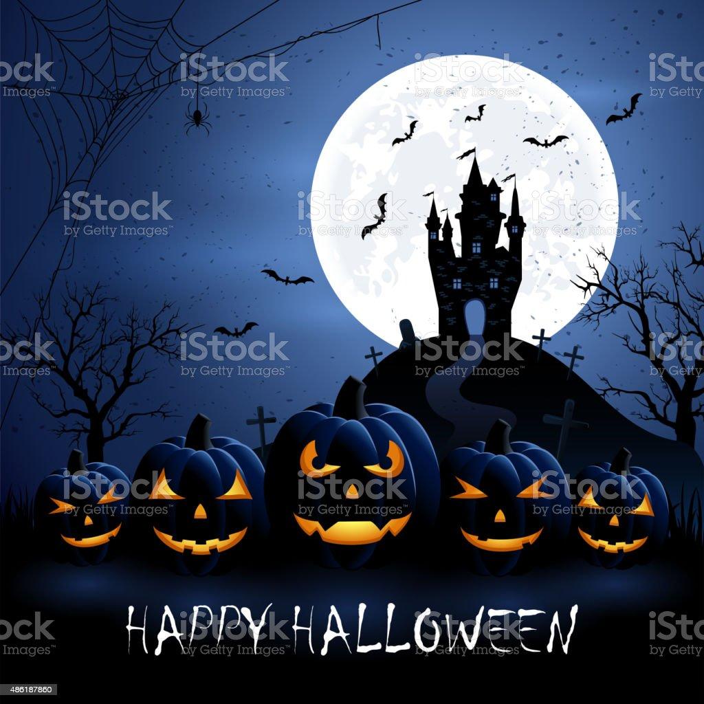 Halloween pumpkins and castle vector art illustration