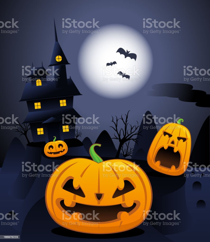 Halloween pumpkins at cemetery full moon night royalty-free stock vector art
