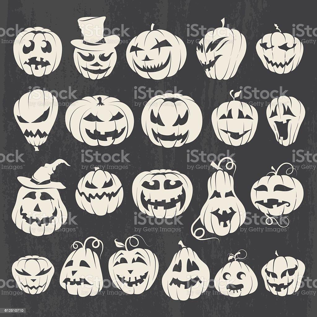 Halloween Pumpkins Drawings Set vector art illustration