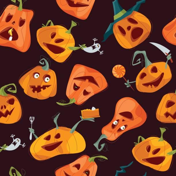 happy halloween seamless background pattern vector art illustration - Face In Hole Halloween