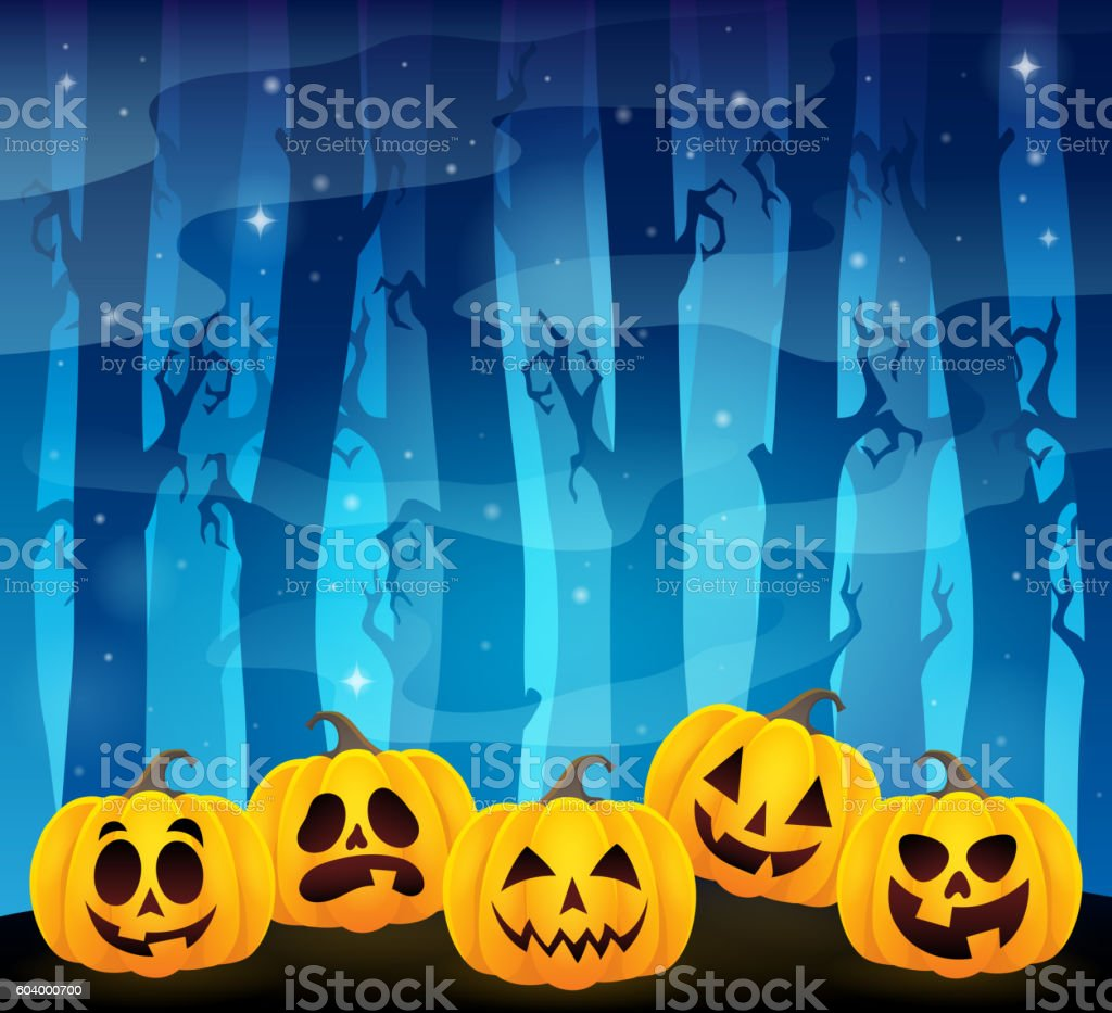 Halloween pumpkins theme image 1 vector art illustration