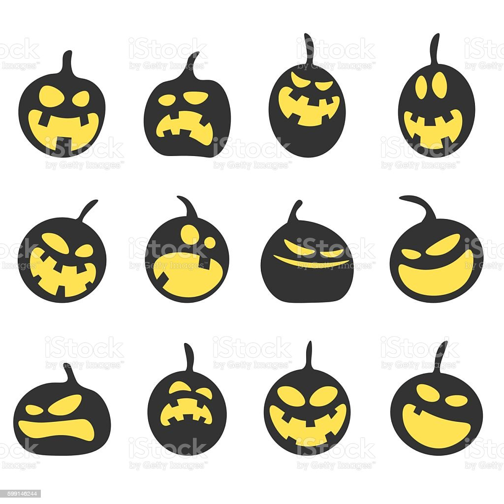 Halloween pumpkins vector art illustration