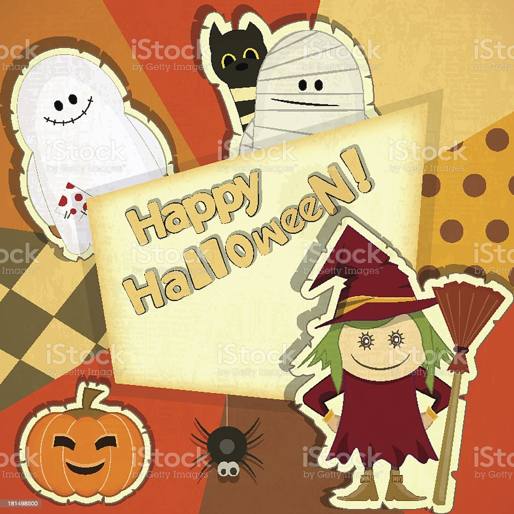 Halloween Retro Card royalty-free stock vector art