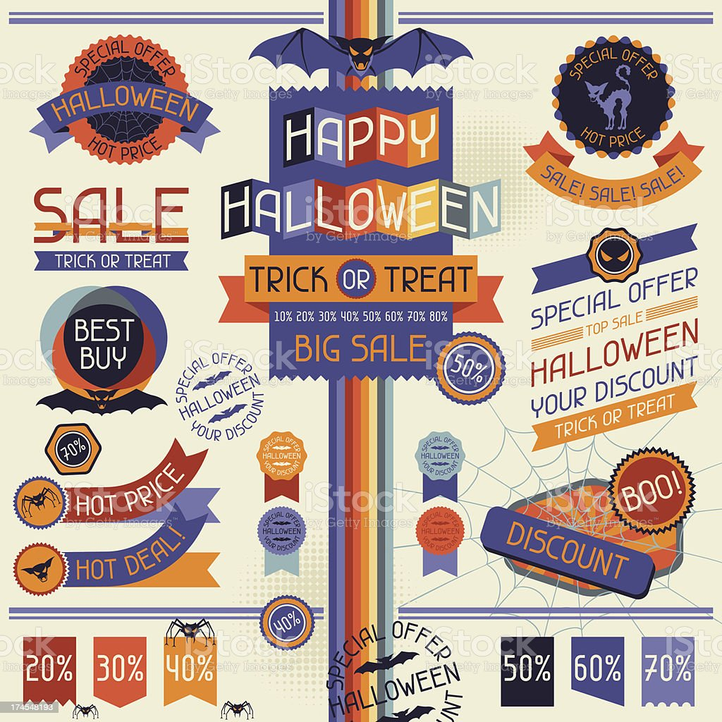 Halloween sale labels and stickers. royalty-free stock vector art