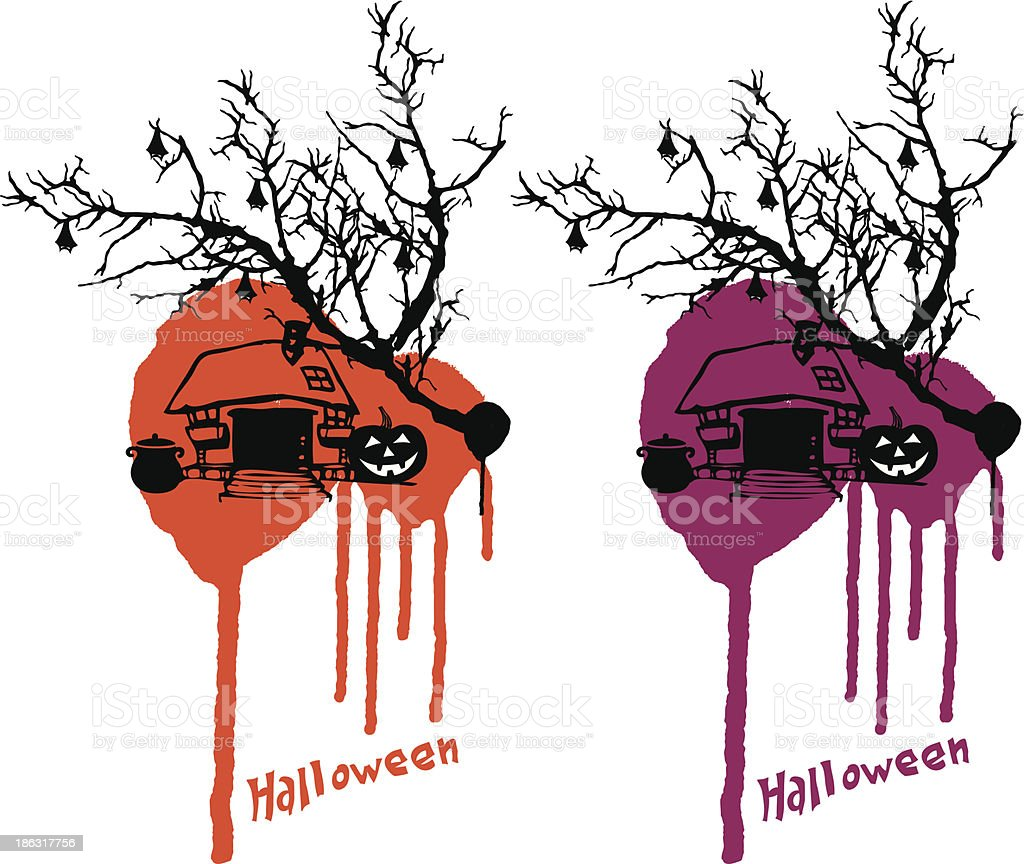 halloween scene with dirty background royalty-free stock vector art